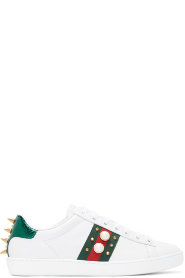 Gucci - White Pearls & Studs Ace Sneakers