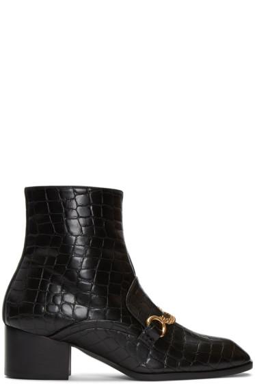 Stella McCartney - Black Croc-Embossed Chain Boots