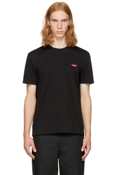 Stella McCartney - Black 'No Smile No Service' Lips T-Shirt