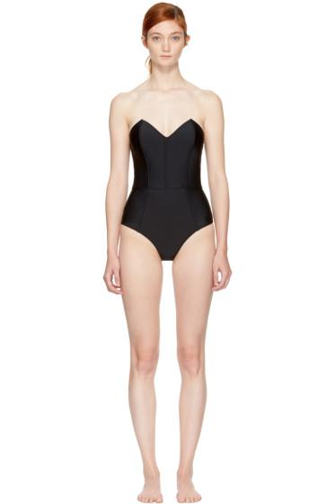 Fleur du Mal - Black Strapless V-Neck Swimsuit