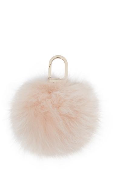 Yves Salomon - Pink Fur Pom Pom Keychain