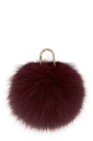 Yves Salomon - Red Fur Pom Pom Keychain