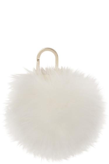 Yves Salomon - Ivory Fur Pom Pom Keychain
