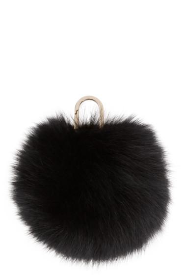 Yves Salomon - Black Fur Pom Pom Keychain