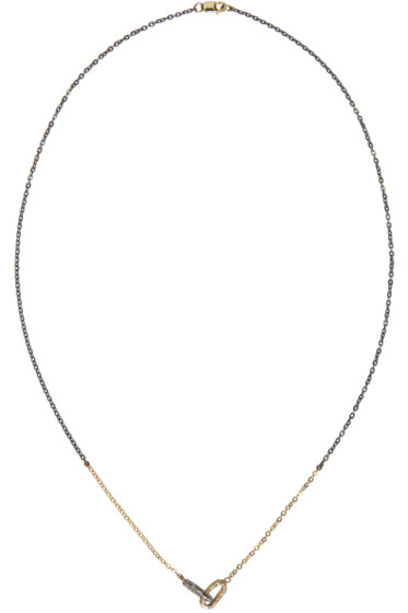 Pearls Before Swine - Silver & Gold Double Link Pendant Necklace