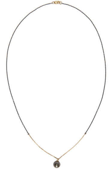 Pearls Before Swine - Silver & Gold Tahitian Pearl Necklace