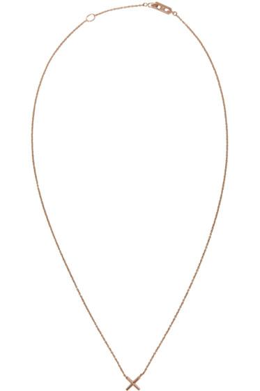 Eva Fehren - Rose Gold 'X' Pendant Necklace