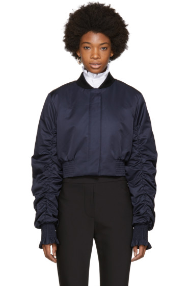 Ellery - Navy Cropped Minnie Bomber Jacket