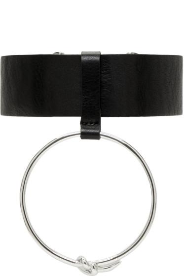 Ambush - Black Leather Ring Choker