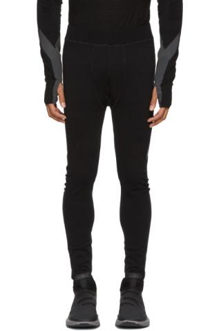 Y-3: Black Fine Knit Tights