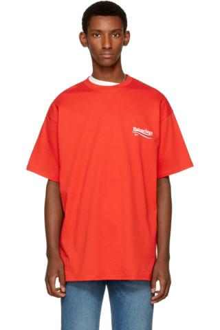 balenciaga red campaign logo t shirt ssense