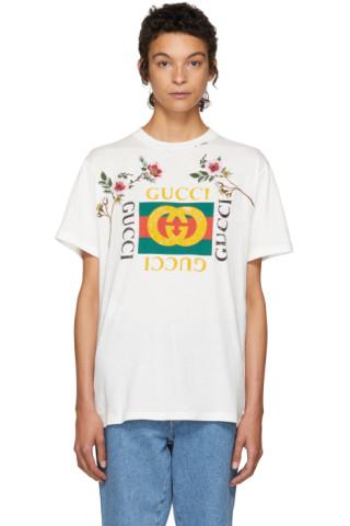 4a14c628 Gucci: White Floral Logo T-Shirt | SSENSE