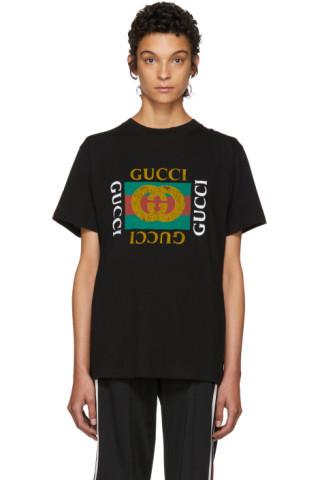 d56a39245 Gucci: Black Tiger Logo T-Shirt | SSENSE