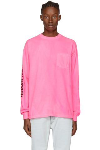 Noah nyc pink 39 human rights 39 pocket t shirt ssense uk for I run for meg shirts