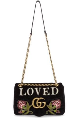 22e8c790014 Gucci  Black Velvet Medium  Loved  GG Marmont 2.0 Bag