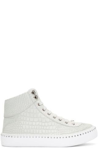 4067755e2b0 Jimmy Choo  White Croc Crystal Argyle High-Top Sneakers