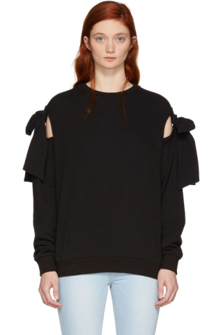 SJYP - Black Ribbon Tie Sweatshirt