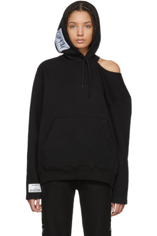 Vetements - Black Open Shoulder Hoodie