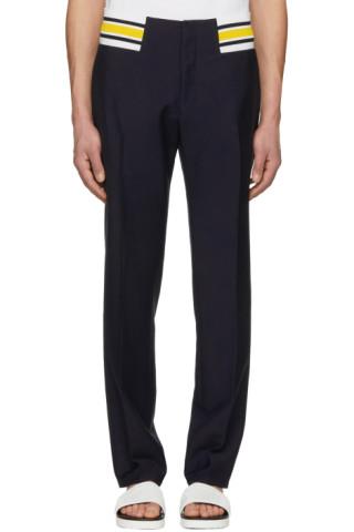 loewe navy contrast rib trousers ssense. Black Bedroom Furniture Sets. Home Design Ideas