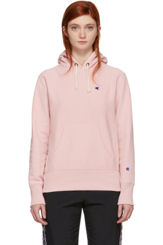 Champion Reverse Weave - Pink Small Logo Warm Up Hoodie