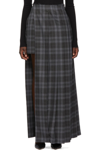 Grey & Black Layer Kilt Skirt by Rokh