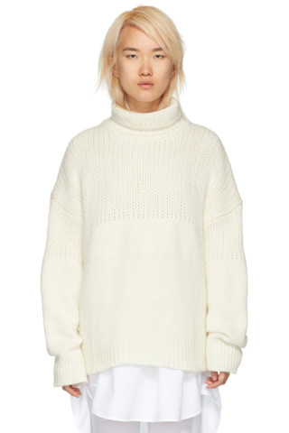 White Chunky Oversized Turtleneck by Jil Sander