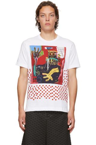 White Basquiat Edition Print T Shirt by Comme Des GarÇons Shirt