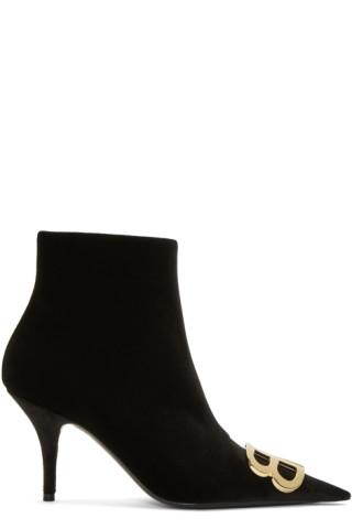 Balenciaga - Black Velvet Logo Plaque Boots