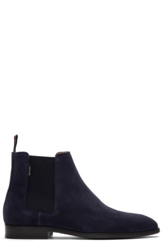 e1f9bc6e9ee6 PS by Paul Smith: Navy Suede Gerald Chelsea Boots   SSENSE