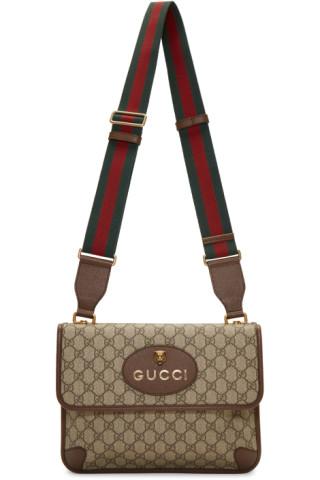 963b9478adf4 Gucci: Brown Neo Vintage Foldover Bag | SSENSE Canada