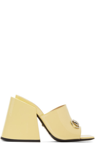 4f95935b3b7 Gucci  Yellow Patent Lexi Horsebit Sandals