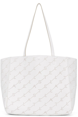 White Small Perforated Logo Tote by Stella Mccartney