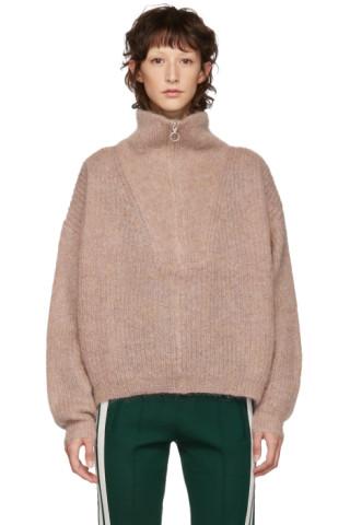 d4f8d8ba0d Isabel Marant Etoile: Pink Mohair Cyclan Zip-Up Sweater | SSENSE