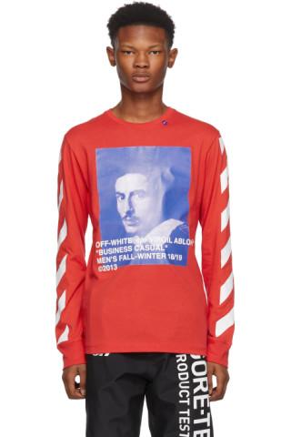 ecf216d55f Off-White  Red Diagonal Bernini Long Sleeve T-Shirt