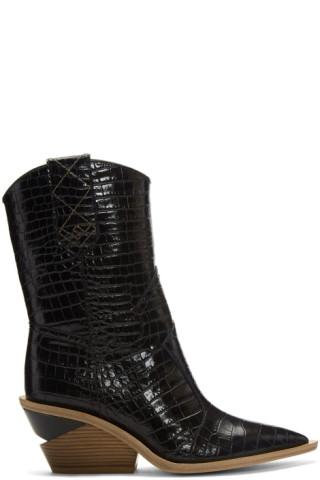 c45eca7b60277 Fendi  SSENSE Exclusive Black Croc Cowboy Boots