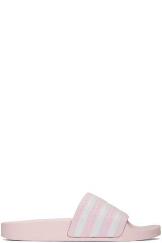 Pink Adilette Slides by Adidas Originals