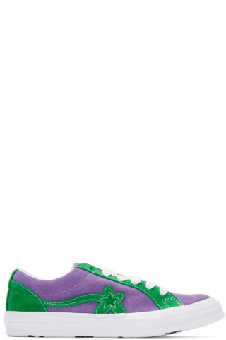 ee885435e016 Converse  Purple   Green GOLF le FLEUR  Edition GOLF 6.1 One Star Sneakers