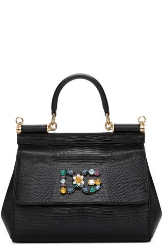 cb989477a8de Dolce   Gabbana  Black Iguana Small Miss Sicily Bag