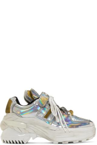 buy popular 9a567 3017e Maison Margiela  Silver Iridescent Retro Fit Sneakers   SSENSE Canada