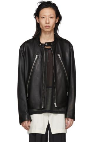 c22c6801d Maison Margiela - Black Leather Classic Five-Zip Jacket