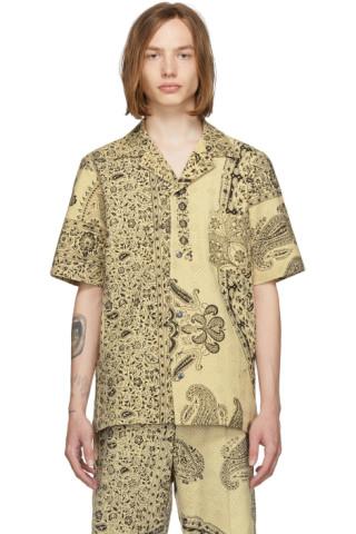 Beige Print Short Sleeve Shirt by Paria /Farzaneh