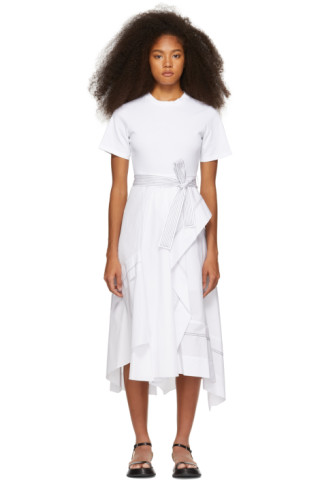 ed1ab96b7c555f 3.1 Phillip Lim: White Poplin Combo T-Shirt Dress   SSENSE