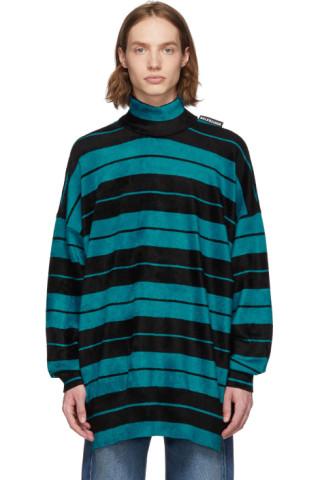 Balenciaga Black and Blue Striped Turtleneck