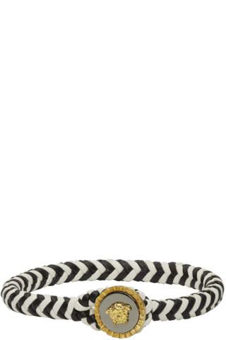 Versace Black White Medusa Rochetto Bracelet Ssense