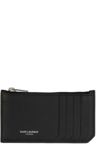 c1bc6b9cf42 Saint Laurent: Black Grained Fragment Zipped Card Holder | SSENSE Canada