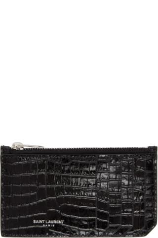 0ad3810bf09 Saint Laurent: Black Croc Fragment Zipped Card Holder | SSENSE