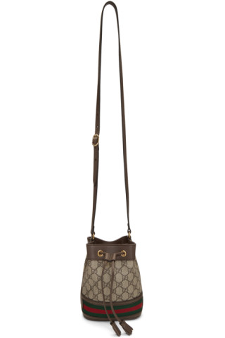 0a0d0b6b5f9 Gucci  Beige GG Supreme Mini Ophidia Bucket Bag