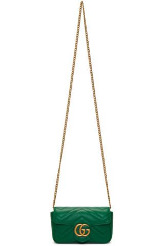 050b8f5e9449 Gucci: Green Super Mini GG Marmont Chain Bag | SSENSE