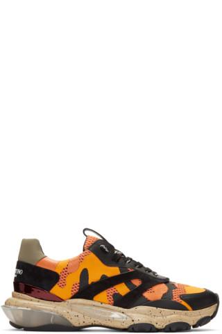 Valentino Orange & Black Valentino Garavani Camo Bounce Sneakers 191476M237036