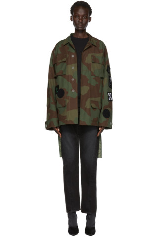 3d6bf8d431bf3 Off-White: Green Camo Patches Field Jacket | SSENSE Canada